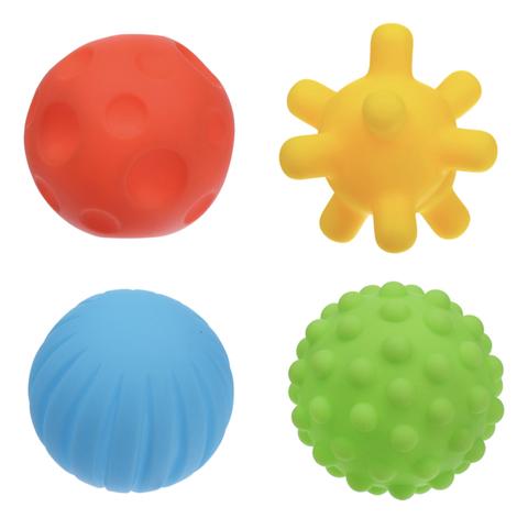Набор тактильных мячиков в сетке 4 штуки