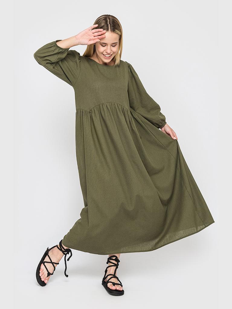Оливковое льняное платье макси с пышными рукавами