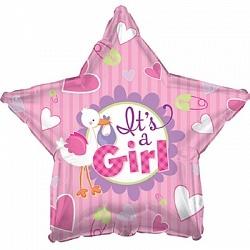 Фольгированный шар Аист принес девочку 18