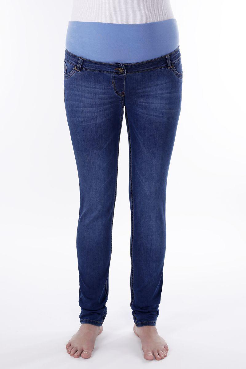 Фото джинсы для беременных MAMA`S FANTASY, прямые, эффект потертости, высокая вставка от магазина СкороМама, синий, размеры.