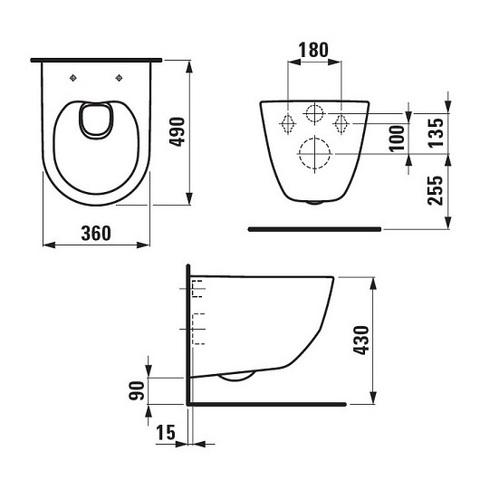 Унитаз подвесной укороченный Laufen Pro с крышкой микролифт
