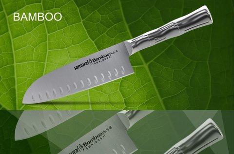 SBA-0093 Нож кухонный стальной Сантоку SAMURA BAMBOO