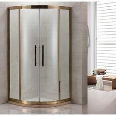 Душевое ограждение Grossman PR-90G золото, 90х90, с раздвижными дверьми, полукруглое
