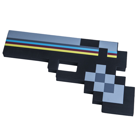 Пистолет 8Бит Черный пиксельный 22см
