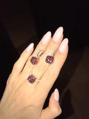 33367 - Серьги Caramel трёхцветные из серебра с рубиновыми кварцами