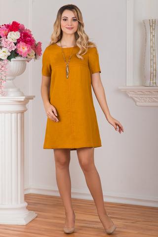 Платье льняное Горчица
