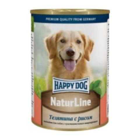 HAPPY DOG Консервы для собак с телятиной и рисом 8000 г. (400г.*20)