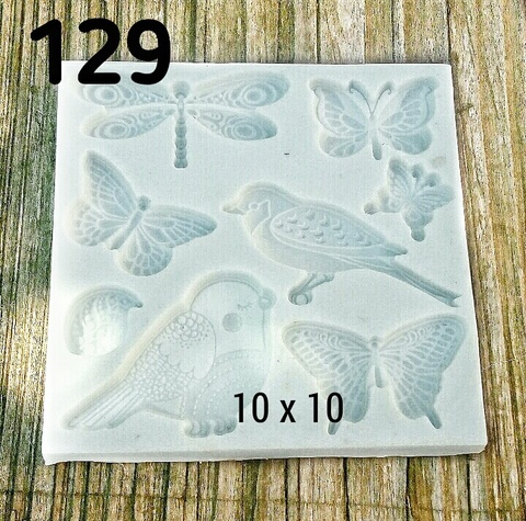0129 Молд силиконовый  Птицы, бабочки
