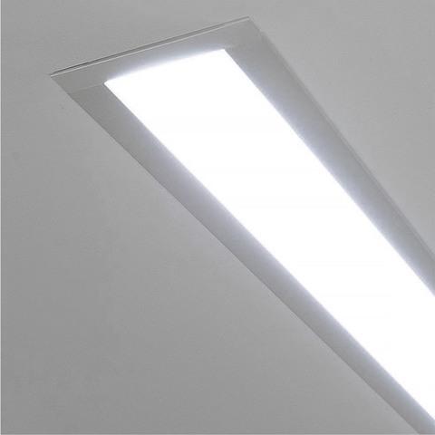 Линейный светодиодный встраиваемый светильник 128см 25Вт 6500К матовое серебро 100-300-128