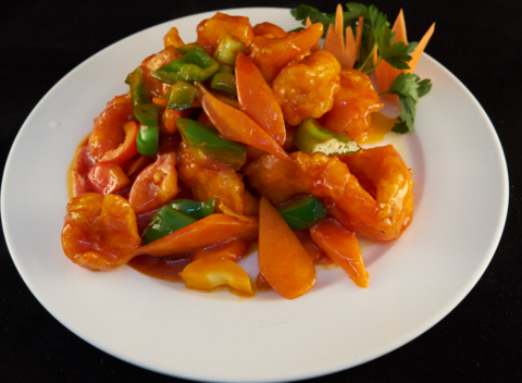 5--8Креветки с ананасами в кисло-сладком соусе菠萝咕噜虾665р400гр