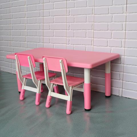 пластиковый регулируемый прямоугольный стол, 120х60см, розовый