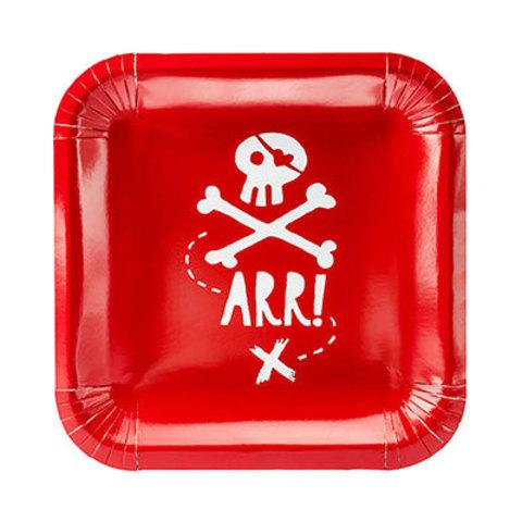 Тарелки Пират PARTY квадратные, 6 штук