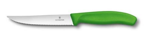 Нож для стейка и пиццы SwissClassic Gourmet 12 см с серейторной заточкой зелёный VICTORINOX 6.7936.12L4