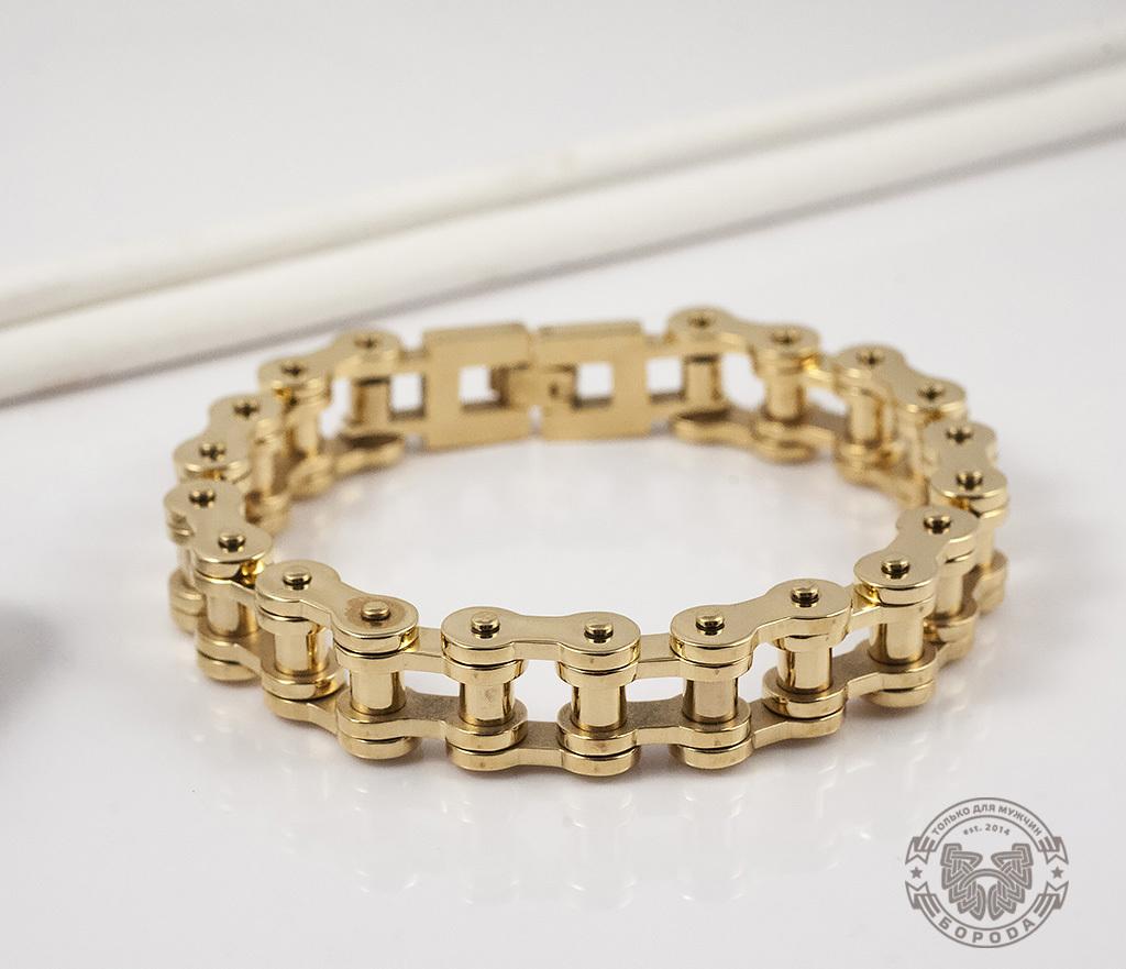BM308 Стильный браслет-цепь из стали золотого цвета (23 см)