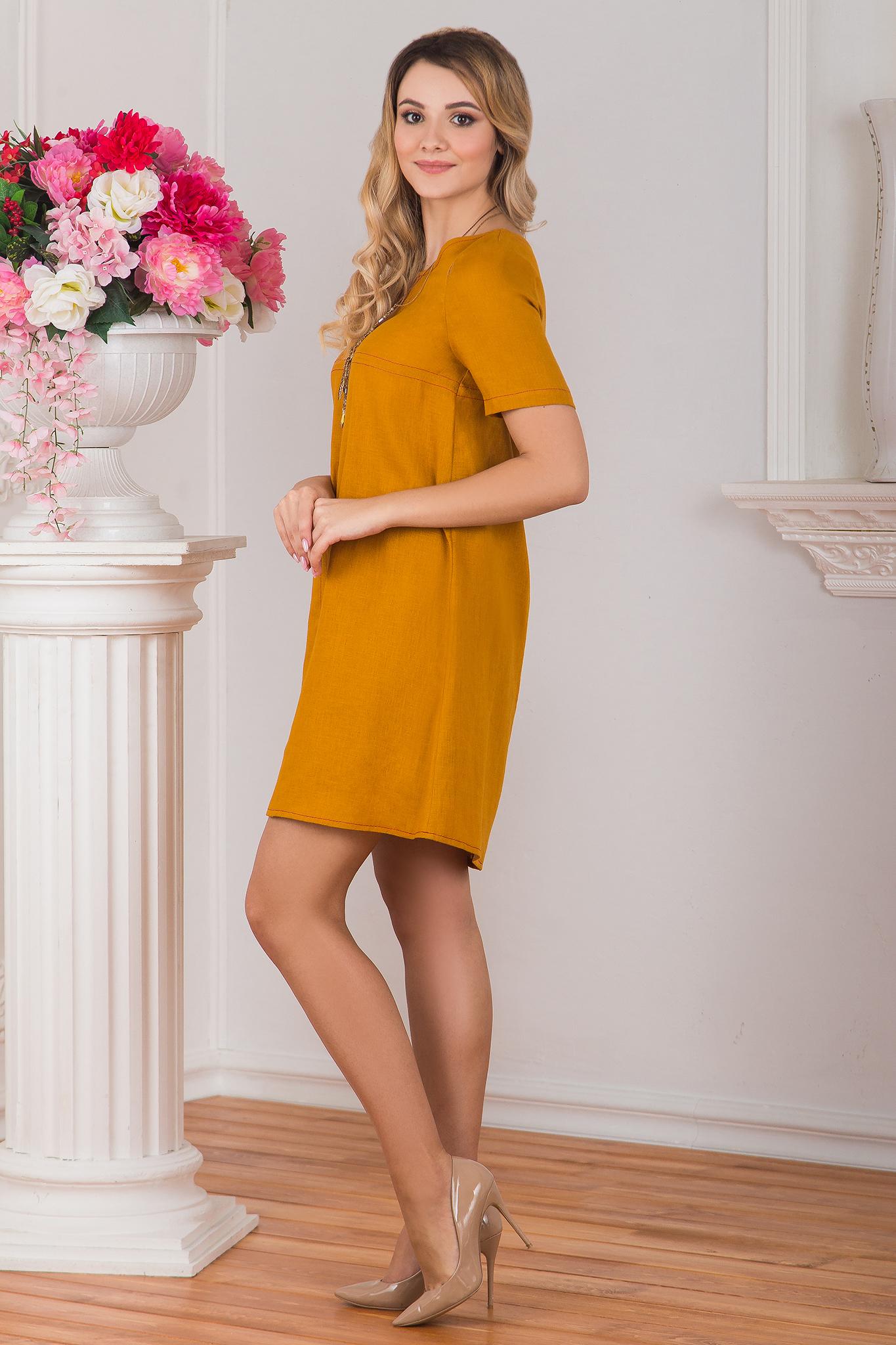 Вид сбоку Платье льняное Горчица