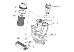 Сосотовляющие:  1- 51054050014 Редукционный клапан  2- 51055040122 вкладыш масляного фильтра  3- 51965010558 Круглое уплотнение  4- 51055050011 Крышка  4- См. отдельные детали Справочный номер  5- 51056017176 Масляный радиатор; с  6- 06562542203 Уплотнение  7- 06032158311 6-гран. фланцевый винт  8- 06032158315 6-гран. фланцевый винт  9- 51018040024 Маслоотделитель  10- 51965010644 Круглое уплотнение  11- 51965010645 Круглое уплотнение