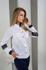 Светлана. Оригинальная комбинированная блуза с кружевом. Синий