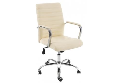 Офисное кресло для персонала и руководителя Компьютерное Tongo бежевое 62*62*93 Хромированный металл /Бежевый