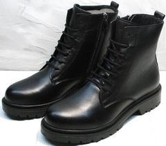 Черные женские ботинки на шнурках демисезон Misss Roy 252-01 Black Leather.