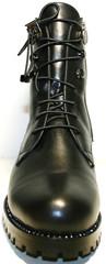 Ботинки женские зима. Черные ботинкина шнуровке. Кожаные ботинки с мехом Tucino