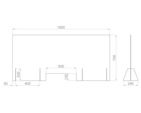 Настольный экран с окном Ш.1600 мм, В.600/750 мм