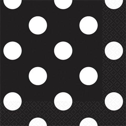 Салфетки черные Горошек, 25 см