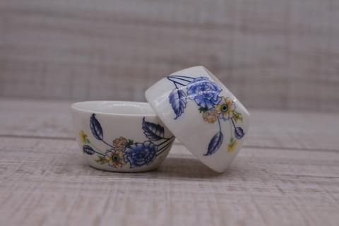 Чашка голубыми и желтыми цветами, фарфор, 30 мл
