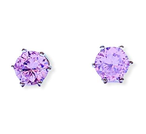 94022 - Серьги-гвоздики из серебра с розовым цирконом в крапановой закрепке