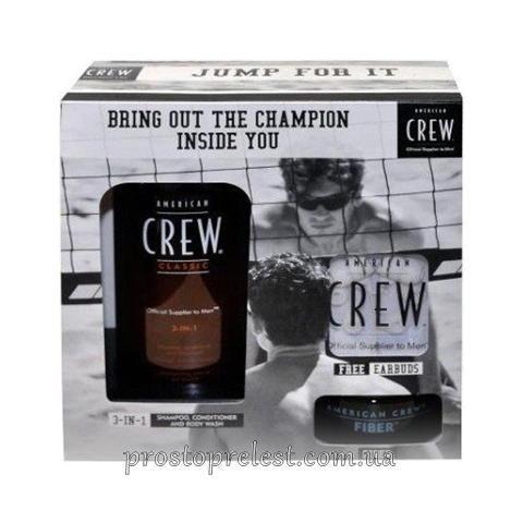 American Crew Gift Set Champion Edition Duo - Засіб 3-в-1 по догляду за волоссям і тілом + Паста сильної фіксації + навушники для плеєра
