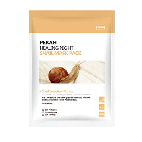 PEKAH Вечерняя восстанавливающая маска для лица с муцином улитки Healing Night Snail Mask Pack 25мл