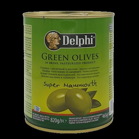Оливки с косточкой в рассоле Super Mammouth DELPHI, 820 гр