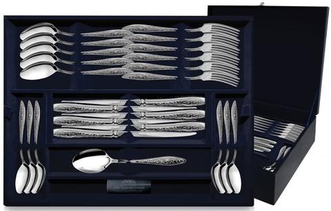 Серебряный десертный набор «Морозко» 24 предмета