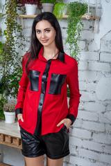 Шейла. Стильна молодіжна сорочка з еко-шкірою. Червоний