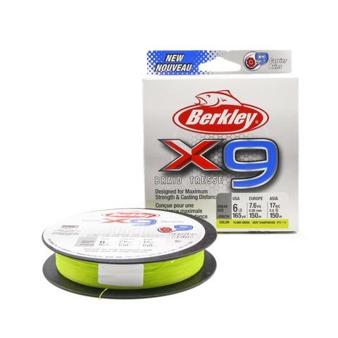 Плетеная леска Berkley X9 150м Ярко-зеленая 0,08мм 2,7кг