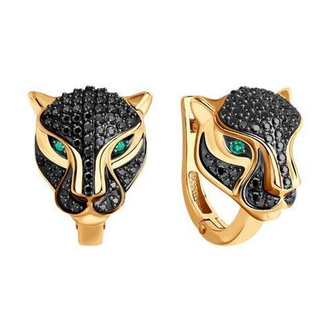 3020493 - Серьги Пантеры из золота с бриллиантами и изумрудами