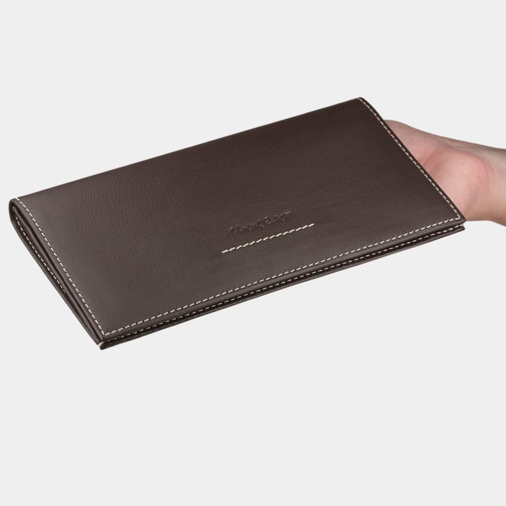 Длинный кошелек Eclair Bicolor из натуральной кожи теленка, темно-коричневого цвета