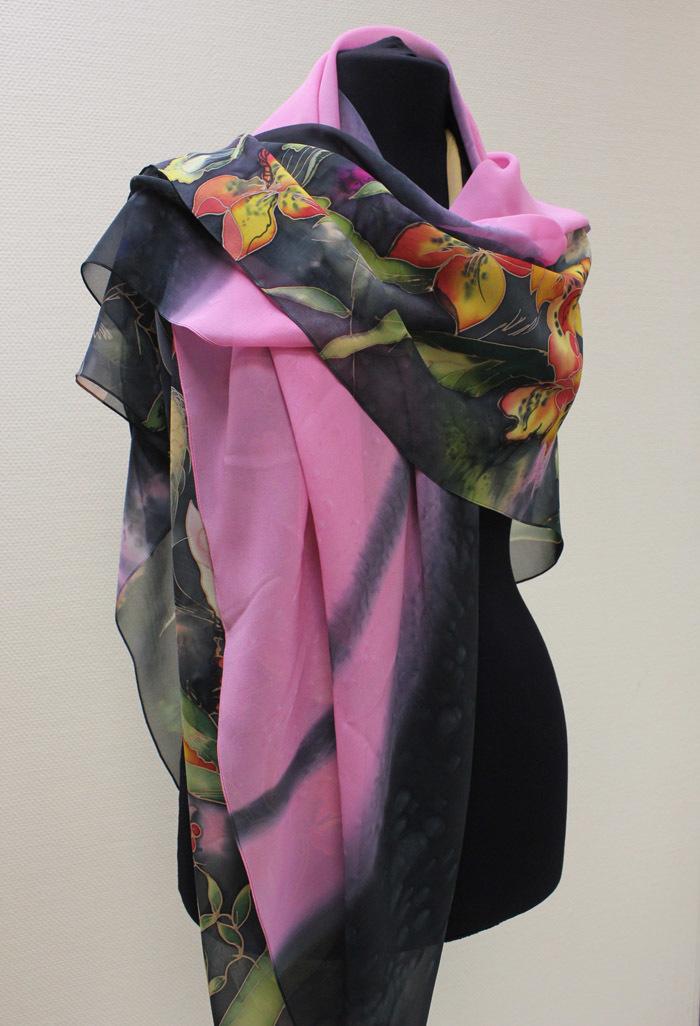 Парео Голландский букет черно-розовое