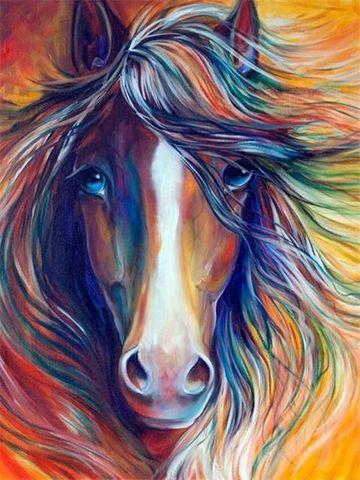 Алмазная Мозаика 20x30 Цветная лошадь