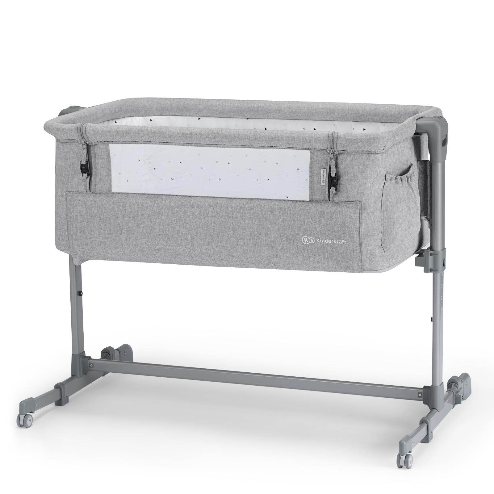 Кроватка приставная Kinderkraft Neste Up Grey Light Melange