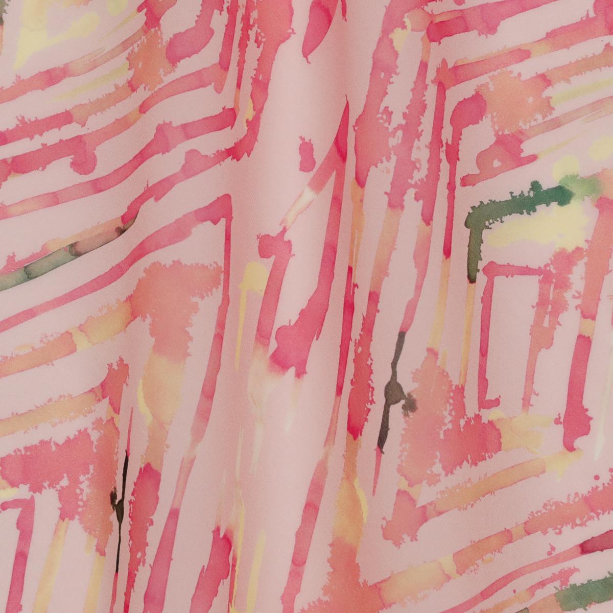 Полупрозрачный шёлковый стретч-крепдешин розового цвета