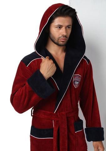 Халат мужской с капюшоном Atletic Sport бордовый 2810  Nusa Турция