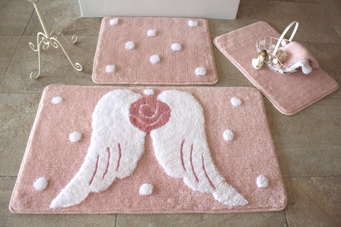 Комплект ковриков для ванной и туалета АНГЕЛ, розовый
