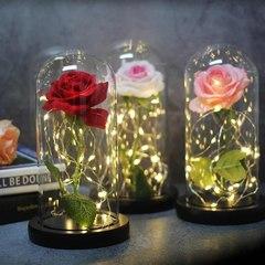 Роза в колбе с подсветкой (белая)