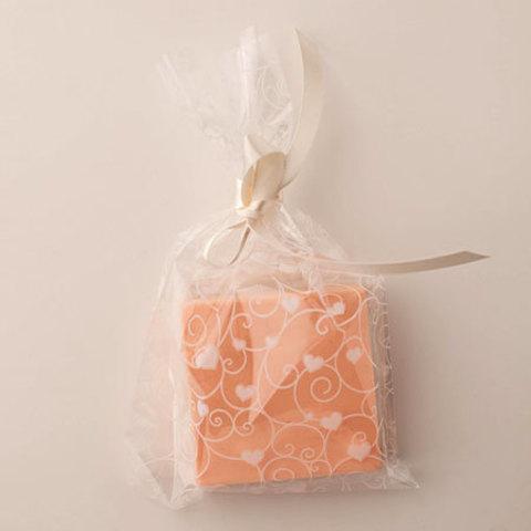 Пакет целлофановый для мыла Сердечки белые