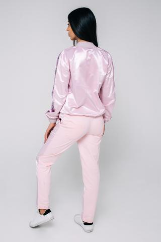 Спортивный костюм розовый с полосой недорого