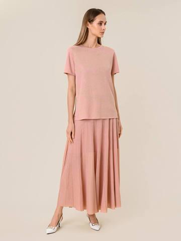 Женская юбка-плиссе светло-розового цвета из вискозы - фото 4