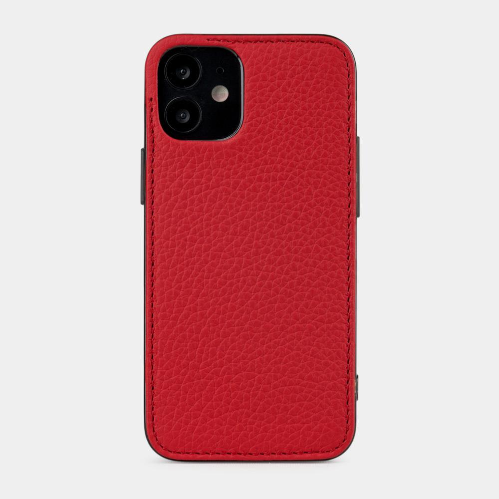 Чехол-накладка для iPhone 12 Mini из натуральной кожи теленка, красного цвета
