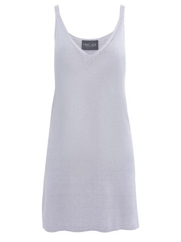 Женское платье светло-серого цвета из шелка и вискозы - фото 1