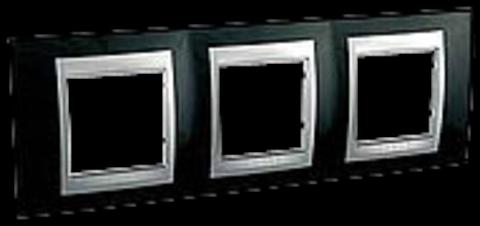 Рамка на 3 поста. Цвет Родий-алюминий. Schneider electric Unica Top. MGU66.006.093