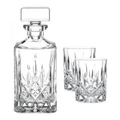Набор из 2 хрустальных стакана для виски 295 мл и декантера 750 мл Noblesse, фото 1